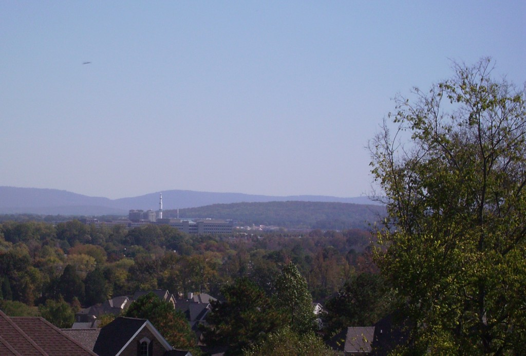 Highland Lakes - view of Huntsville and the Rocket